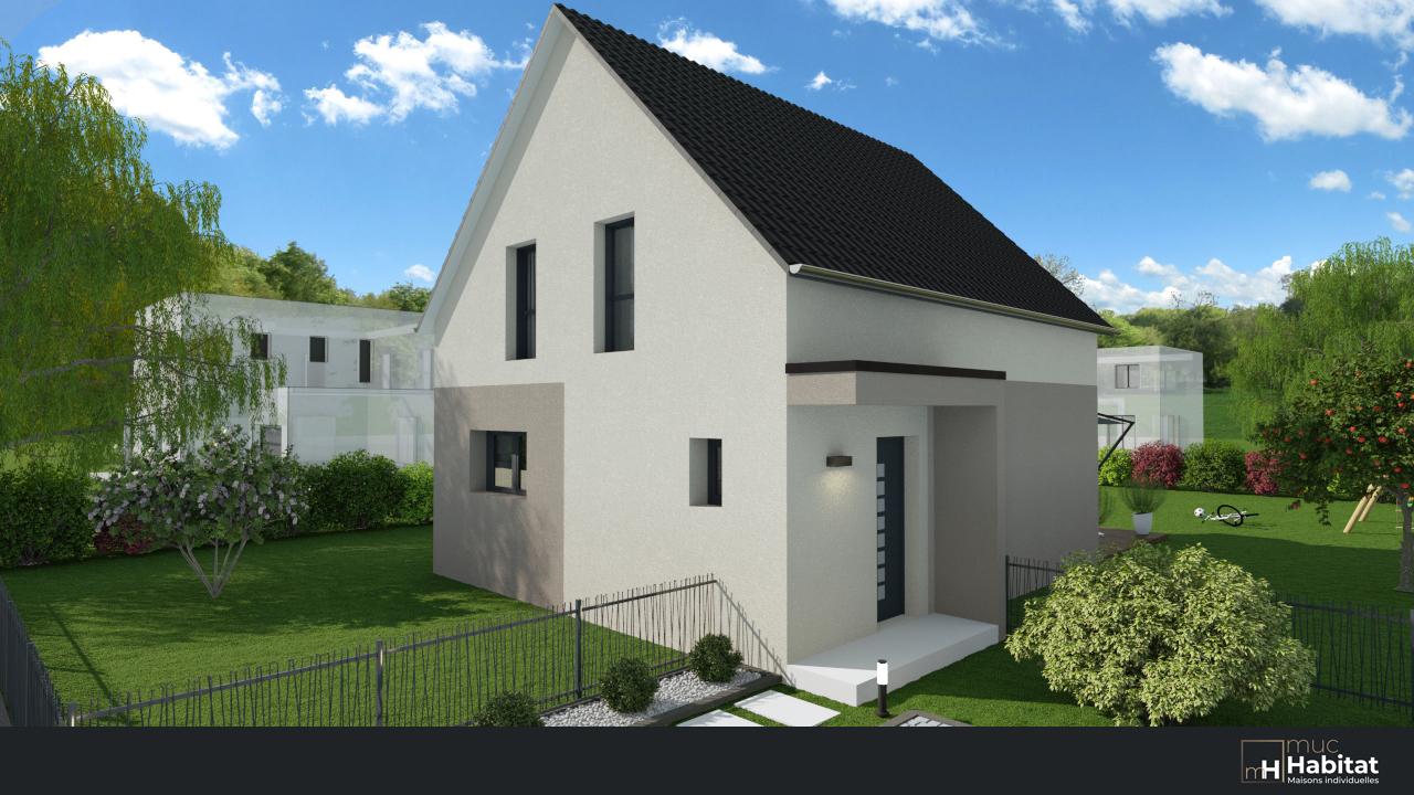 Construction d'une maison neuve, vue entrée