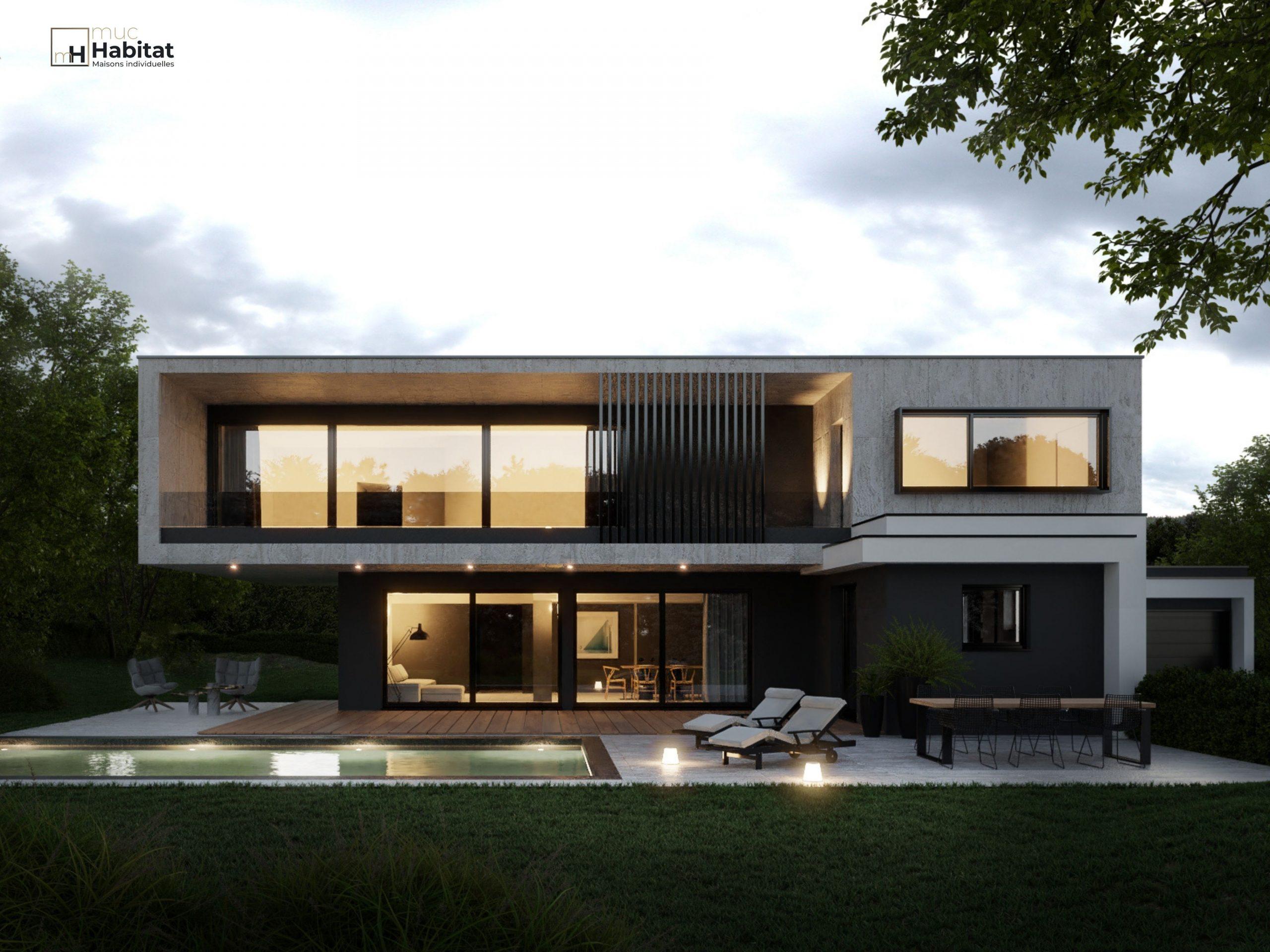 Maison à toit plat Alsace 3D